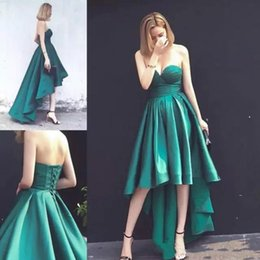 knee low bridesmaid dresses UK - Free Shipping Lovely 2019 High Low Short Homecoming Dresses Sweetheart Knee Length Satin Mini Party Prom Dress Graduation Bridesmaid Dresses
