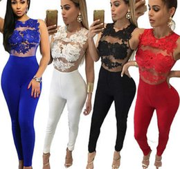 Women Red Romper Jumpsuit NZ - Sexy Fashion Women Sleeveless Bandage Bodycon Jumpsuit Lace Romper Trousers Evening Clubwear Red