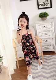 Chinese  2018 Summer Baby Kids Clothes Girl's Floral Print Jumpsuit Suspender Trousers Pant 100% Cotton Fashion Flower Children Outfit Outwear manufacturers