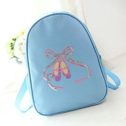 kids blue dance shoes NZ - Kids Ballet Bag Waterproof Canvas Bow-kont Dance Bags For Kids Cute Children Ballerina Backpack Embroidery Sequins Shoes