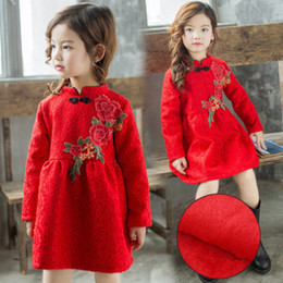 chinese dress 2019 - Chinese Style New Year Girls Dresses Embroidered Peony Dress Autumn Winter Thick Girls Clothing Kids Clothes Baby Clothi