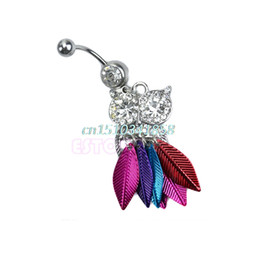 $enCountryForm.capitalKeyWord NZ - Pendant Cute Owl Surgical Steel Belly Button Ring Navel Piercing Body Jewelry #Y51#