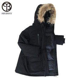 63f22bc9e013 Asesmay Men Down Jacket Goose Feather Coats Wellensteyn Jackets Male Long  Casual Winter Puffer Jackets Youth Raccoon Fur Parkas
