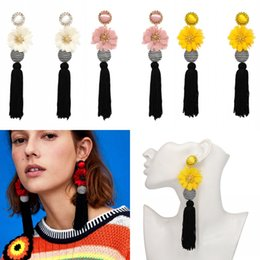 stud drop tassel Australia - 8 Colors Cute Tassel Drop Earrings With Ball and Flower Dangle Thread Long Tassel Earring Flower Drop Fringe Earring for Women Jewelry H119R