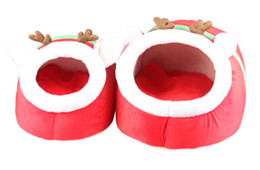 pet house beds 2018 - Christmas Red Reindeer Pet Dog House Christmas Cute Deer Dog Nest Washable Winter Warm Dog Cat Bed cheap pet house beds