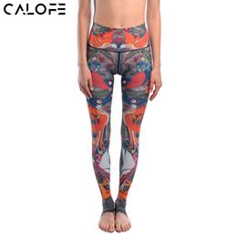 Wholesale Printed Yoga Pants Canada - CALOFE Brand Women Elastic Waist Yoga Pants Picnic birds Printed Sport Leggings Tights Pants Running Fitness Gym Yoga Leggings