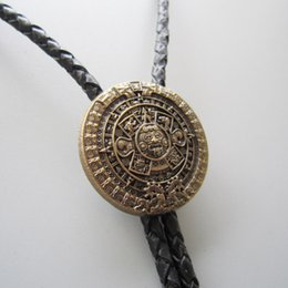 Retail Original Antique Gold Plated Classic Aztec Calendar Sculpting Bolo Tie Necklace BOLOTIE-WT126AG In Stock Free Shipping & Aztec Gold Plated Necklaces Online | Aztec Gold Plated Necklaces for ...