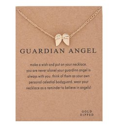 $enCountryForm.capitalKeyWord Australia - New Arrival Angel wings Chram Pendant Necklaces Women Lady Gold Silver Plated Short Clavicle Chain Necklace With Gift Card