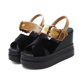 $enCountryForm.capitalKeyWord NZ - Chic platform wedges sandals blue red cross strappy designer sandals size 34 to 39