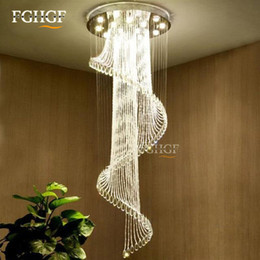 Modern Crystal Chandeliers Australia - Modern Crystal Chandelier Large Size Crystal Chandeliers Spiral Lamp Long Stair Lustres Lighting Fixture for Foyer Hotel Villa