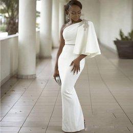 Vente en gros Aso Ebi 2K17 Noir Filles Robes de Bal Une Épaule Perles Cristaux Sirène Robes de Soirée Étage Longueur Satin Formelle Cocktail Dress