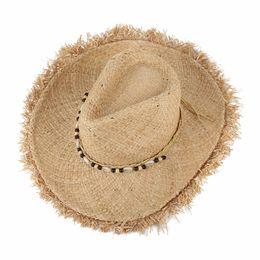Chinese  Vintage Raffia Straw Hats Floppy Wide Large Sun Hat Fashion Fringe Shells Beads Beach Hats Panama Summer Hat For Women manufacturers
