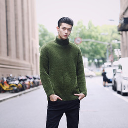 Male White Sweater NZ - 4 Solid Color Fur Men Turtleneck Sweater Turn Down Collar Male Pullover Men Sweater Green Khaki Black White Winter Pull Homme