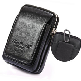 sky mobile phone cases 2019 - Genuine Leather Fanny Waist Pack Cell Mobile Phone Case Purse Money Men Belt Bum Pouch Hook Bag discount sky mobile phon
