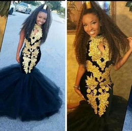 China African Mermaid Prom Dresses With Gold Appliques Black Girls Formal Dresses Evening Wear Tulle Floor Length Girls Pageant Gowns For Teens cheap pageant dresses for teens size suppliers