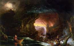 Boat Landscape Oil Painting UK - Thomas cole - The Voyage of Life Manhood stunning Handpainted & HD Print landscape & boat Art oil painting Home Decor High Quality Canvas