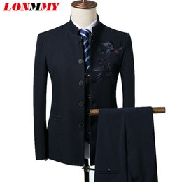 bb3bfdfee wholesale 3 pieces sets Suits Blazer men Slim fit Mens blazer jacket  Chinese style Crane suit male Standing collar black red gray