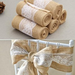 Ties chairs online shopping - Wedding chair back Sashes Lace Burlap Chair Sash streamer Bow Ties Butterfly Chair Cover Decro For Banquet Decor