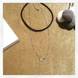 Short loop online shopping - 2 Layer Loop Ring Pendant Adjustable Shinning Short Necklace All Matching Style Yung Lady Party Wedding Graceful Silver