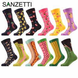 Discount socks fruit - SANZETTI 12 pairs lot Funny Pattern British Watermelon Corn Hot Dog Men Fruit Combed Cotton Causal Crew Dress Wedding So