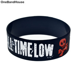 Wide Silicone Band Australia - OneBandaHouse 1PC 1 Inch Wide Bangle All Time Low Rock Band Silicone Bracelet