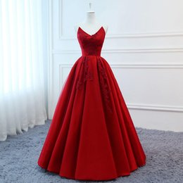 2a1283377d9 Ruby Hot Sale A-Line Real Photos V-Neck Lace Appliques Satin Draped Bridal  Gowns Sexy Back Floor Length Wedding Dress