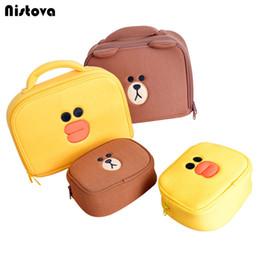 Cartoon Ups NZ - Cute Bear Mini Cosmetic Bags Cartoon Duck Girl's Make Up Bag Pouch Travel Makeup Tools Organizer Case Box Accessories Supplies