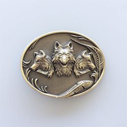 $enCountryForm.capitalKeyWord NZ - New Antique Bronze Plated Western Wolves Oval Belt Buckle