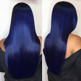 Blue Human Hair Australia - Silky Straight Blue Full Lace Wigs Glueless Blue Lace Front Human Hair Wigs For Women With Natural Hairline Blue Hair