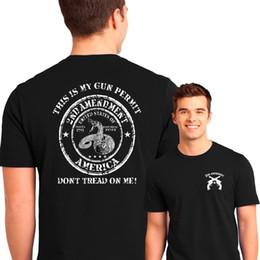 Men T Shirt Gun Australia - 2Nd Amendment T Shirt Patriotic My Gun Permit Dont Tread on Me Sml To 6Xl & Tall T-Shirt Men Male Harajuku Custom Short