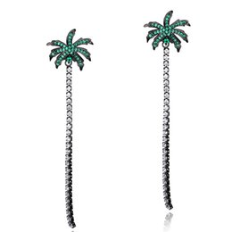 $enCountryForm.capitalKeyWord UK - Long Coconut Tree Drop Earrings For Women Sexy Cubic Zirconia Tassels Dangle Earrings Beach Beach Holiday Fashion Jewelry -700