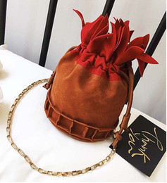 drawstring cosmetic bag Australia - 50pcs 2018 Autuemn and Winter New dull polish Bucket Drawstring pineapple Shoulder Bag Yellow Brown Ladies Cosmetic Chain Cross body Bag