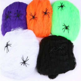 $enCountryForm.capitalKeyWord Australia - Horrible Scary Stretchy Spider Web Cobweb With Spider Bar Haunted House Scene Props Arranged Decor Halloween Party Decoration