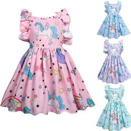 51e1de03 Vieeoease девушки одеваются Единорог дети одежда 2018 Летняя мода рукавов  жилет симпатичные Принцесса платье партии EE-424