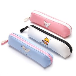 Discount office boxes - Pencil bag cartoon lovely style PU soft material 19*8cm zipper stationery bag pencil box girl's school stationery