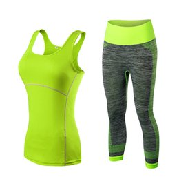 China Wholesale-Yuerlian Quick Dry sportswear Gym Leggings Female T-shirt Costume Fitness Tights Sport Suit Green Top Yoga Set Women's Tracksuit cheap tight black yoga pants suppliers