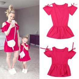 aa774abeab Family Matching Outfits Dress Women Mother and Kids Girls Daughter Dresses  Fille Jolie Off Shoulder Family Clothes
