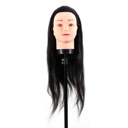 doll heads hair 2019 - New Faux Hair Hairdressing Dummy Head Practice Training Mannequin Head Hairdressing Mannequin Doll With Clamp Black chea