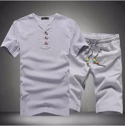 Men White Linen Casual Suits Australia - Summer Men's Linen Suits Set ( Tshirt + Shorts ) Chinese Vintage Style Russian Men Casual Comfortable Home Clothes Shorts 5XL
