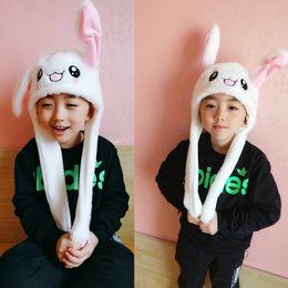 Toy Hats NZ - Moving ear plush hats douyin kids toy lovely children plush gifts kawaii cartoon plush rabbit ear hats