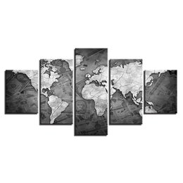 Shop world map canvas uk world map canvas free delivery to uk vintage old world map large 5panels giclee canvas prints painting for vintage home decorationno frame gumiabroncs Images
