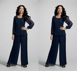 41df75a12de Custom Beach Navy Blue 2018 Chiffon Mother Pant Suits For Evening Wear Long  Mother of the Bride Dresses Beads Crystals Plus Size