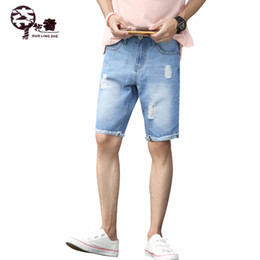 $enCountryForm.capitalKeyWord Canada - New Summer Men's Jeans Shorts Ripped Hole Jean Shorts Knee Length Casual Tassel leg