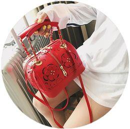 $enCountryForm.capitalKeyWord Canada - Women Mini Flower Handbag Fashion PU Leather Long Chain Crossbody Bags for Women Top Handle Handbag Shoulder Bags