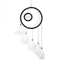 ShoeS africa online shopping - ecoration Crafts Wind Chimes Hanging Decorations CM Feather Dream Catcher Hoop Feathers Polyester Thread Wall Hanging Crafts For Ho