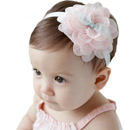 Handmade Bow Tiara Canada - Newborn Baby Headband Handmade Fabric Lace Flower Headband Children Hair Accessories Child Cute Hair Band Girl Nylon Bow Tiara Headdress
