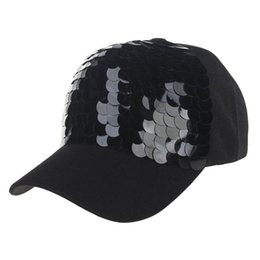 Discount red sequin hats - Casual Women Ponytail Baseball Cap Sequins Shiny Messy Bun Snapback Hat Sun Caps JU6