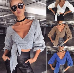 Wholesale ruffle neck sweater resale online – Sexy Deep V Neck Knitted Sweater Women Ruffle Soft Sweater Female Pullover Fashion Streetwear Short Sweaters
