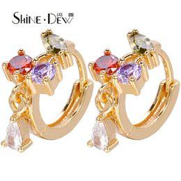 afedb1a25514 ShineDew pendientes de aro multicolor de alta calidad Cubic Zirconia Ladies  Jewels Girls Ear Studs 2018 moda de moda ESQG0006