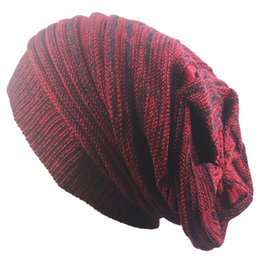4bb7f29b8a4f4f autumn winter warm knied Beanies hat for men women baggy Oversized Slouch  Warm Cap beanies Striped cap hat Hip Hop ski winter
